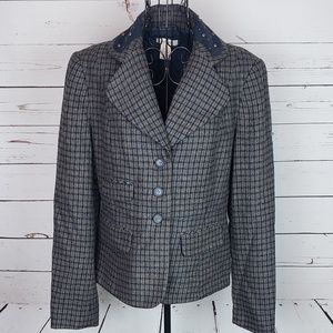 Sundance Wool Blend Plaid Blazer w/Stud Detail